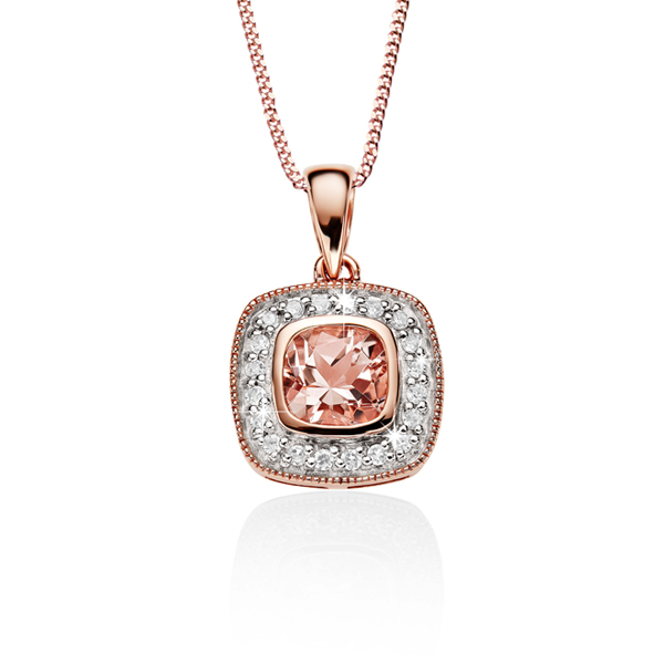 9ct rose gold morganite and diamond pendant