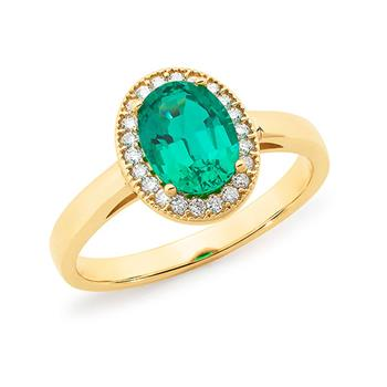 MMJ - Synthetic Emerald & Diamond Halo Dress Ring