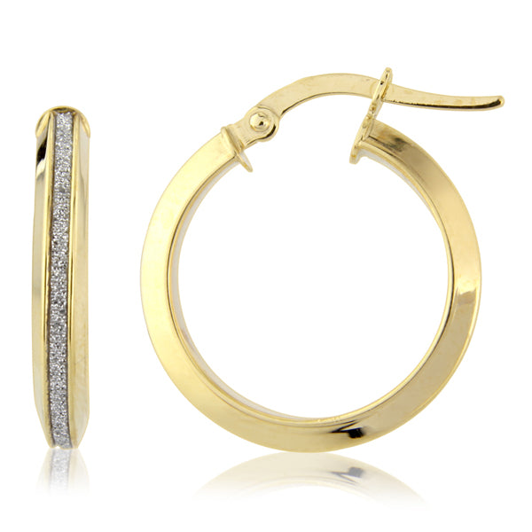 Mark Milton 9ct Yellow Gold Glitter Hoop Earrings