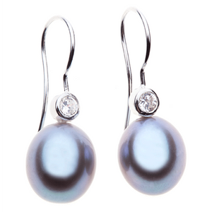 Pearl  Perfection 10mm Grey Pearl Drop Earrings With CZ