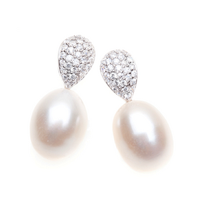 Pearl  Perfection 10mm White Drop Pearl Earrings With Cubic Zirconia