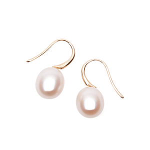 Pearl  Perfection 10mm White Hook Earrings, 9ct Rose Gold