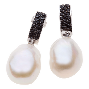 Pearl  Perfection 14mm White Baroque Pearl Earrings With Black Cubic Zirconias