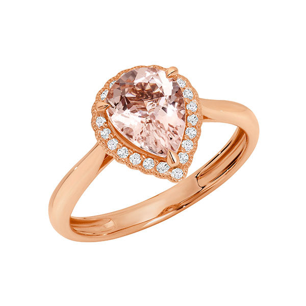 Temptation 9Ct Rose Gold Morganite Ring