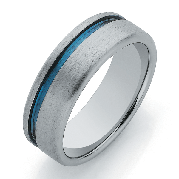 Titanium Sanded Finish and Blue Groove Band