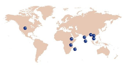 map of Sapphire mining locations