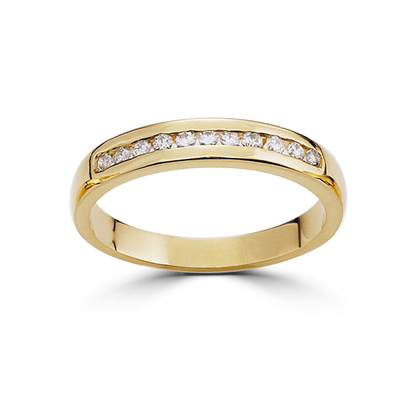 18ct Yellow Gold Diamond Wedding Ring Channel Set