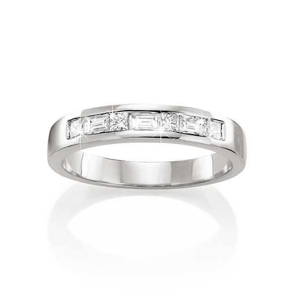 18ct White Gold Diamond Wedding Ring Princess Cut and Baguette