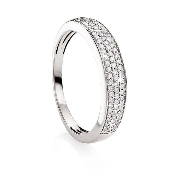 9ct White Gold Diamond Pave Set Band Ring
