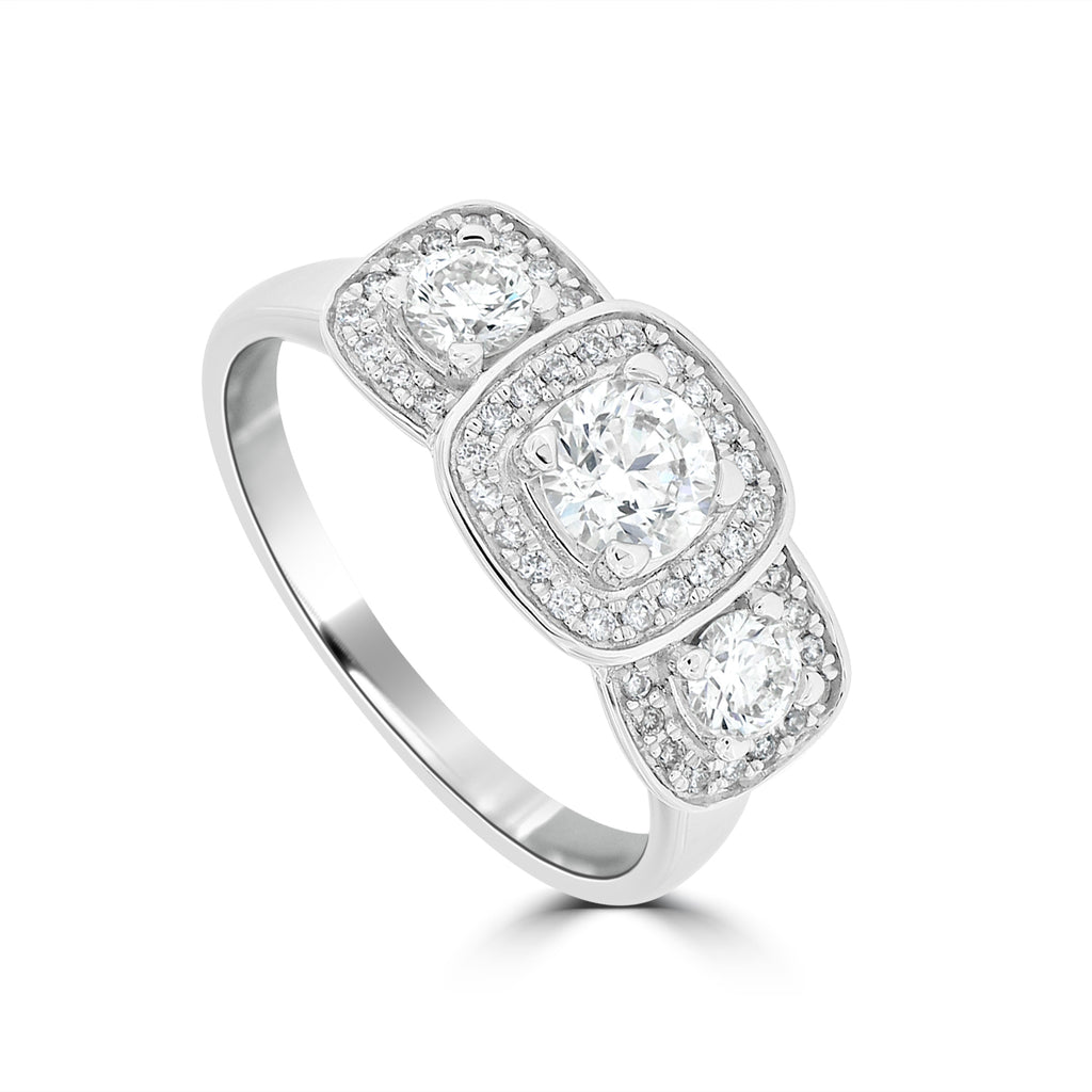 18ct White Gold Cushion Shape Diamond Ring