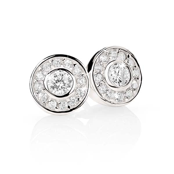 Sterling Silver Cubic Zirconia Bezel Set Stud Earrings