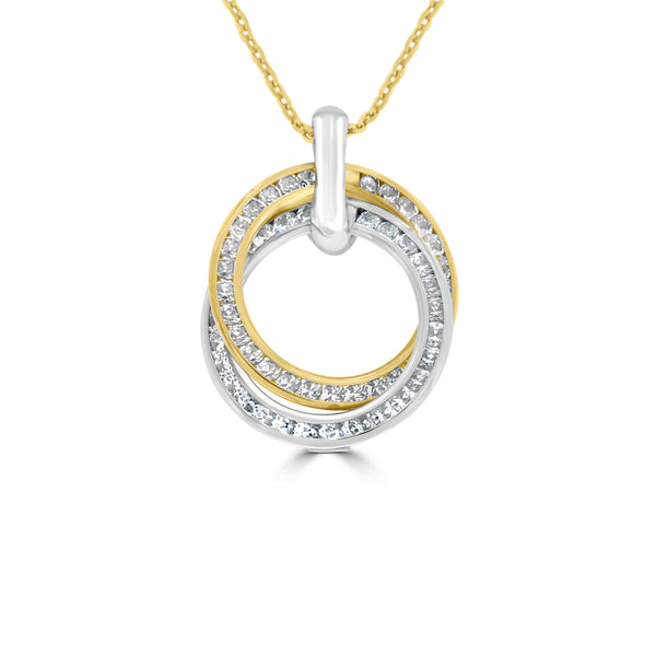 9ct Yellow Gold Double Circle Cubic Zirconia Pendant