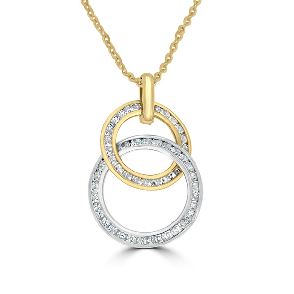 9ct Yellow Gold Circle Cubic Zirconia Set Pendant
