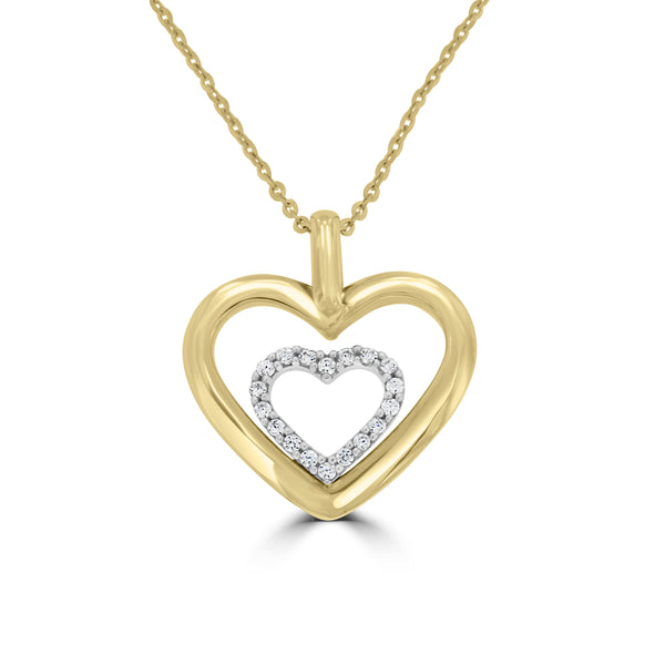 9ct Yellow Gold Cubic Zirconia Set Double Heart Pendant