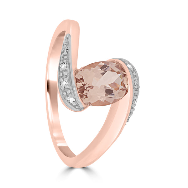 9ct Rose Gold Oval Morganite and Diamond Ring