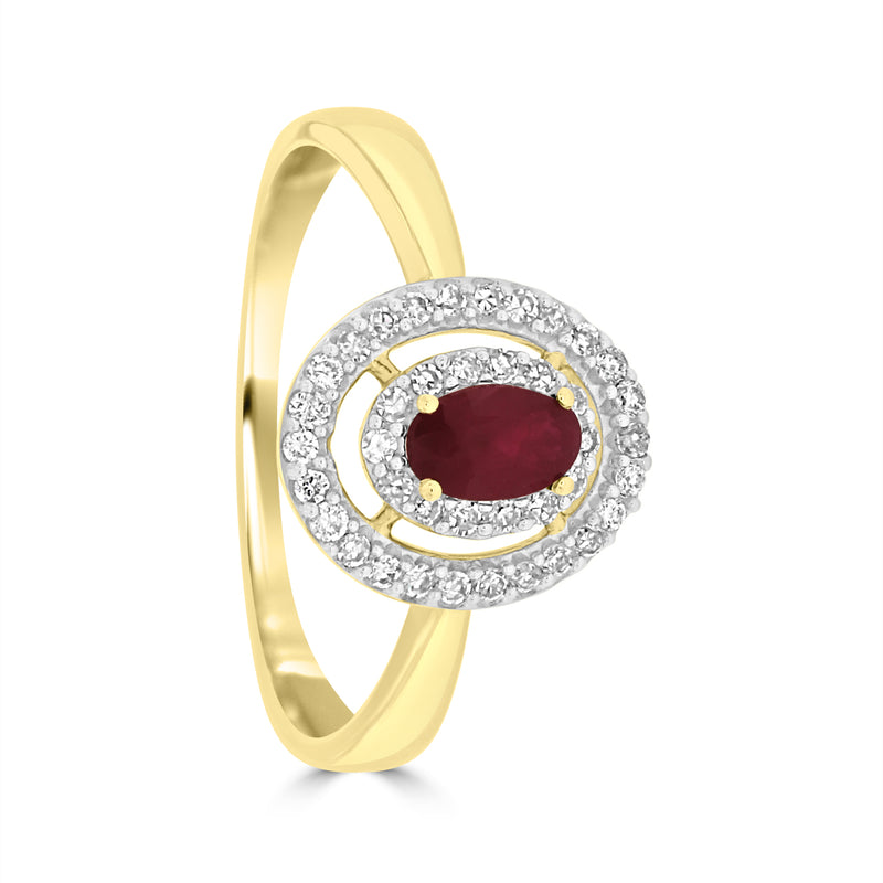 9ct Yellow Gold Oval Ruby and Diamond Ring