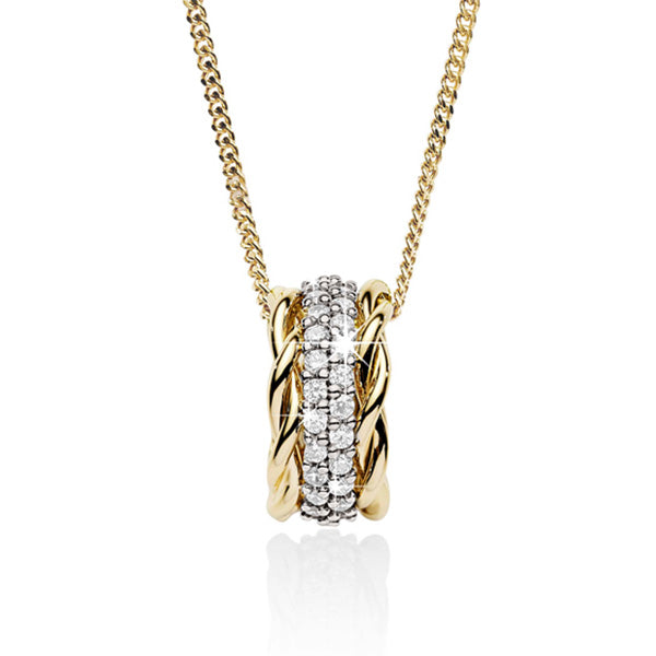9ct Yellow & White Gold Cubic Slider Pendant