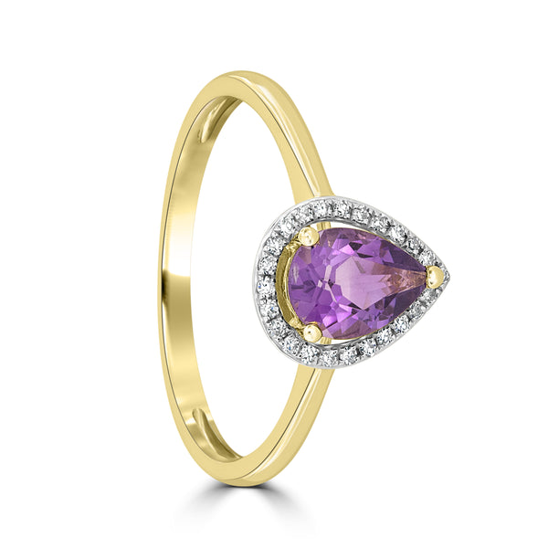 9ct Yellow Gold Pear Shaped Amethyst and Diamond Ring