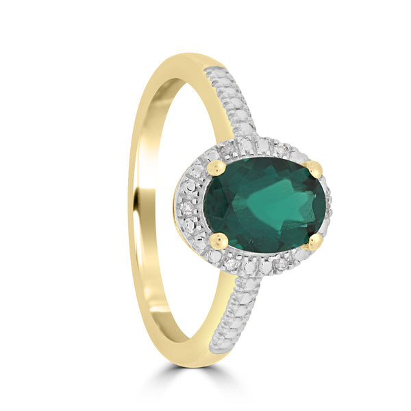 9ct Yellow Gold Oval Created Emerald and Diamond Ring