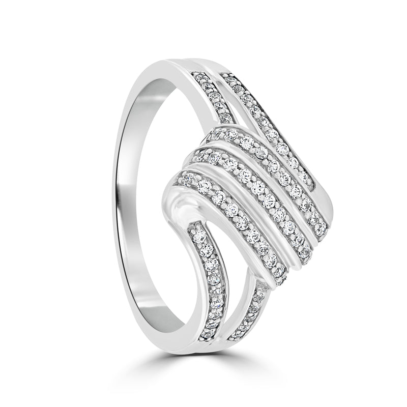 Sterling Silver Pave Set Cubic Zirconia Ring