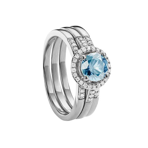 9ct White Gold Blue Topaz and Diamond 3 piece Bridal Ring Set