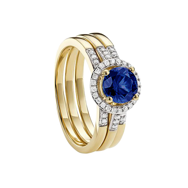 9ct Yellow Gold Created Sapphire and Diamond 3 piece Bridal Ring Set