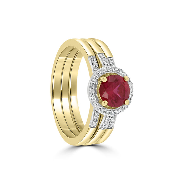 9ct Yellow Gold Created Ruby and Diamond 3 Piece Bridal Set