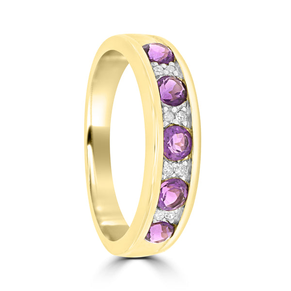 9ct Yellow Gold Amethyst and Diamond Anniversary Ring