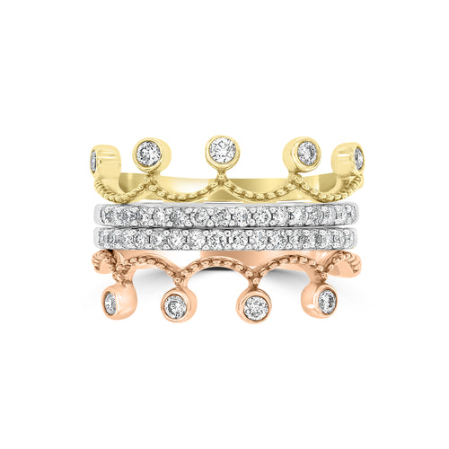 9ct Yellow, White & Rose Gold Diamond Set Stacker Ring
