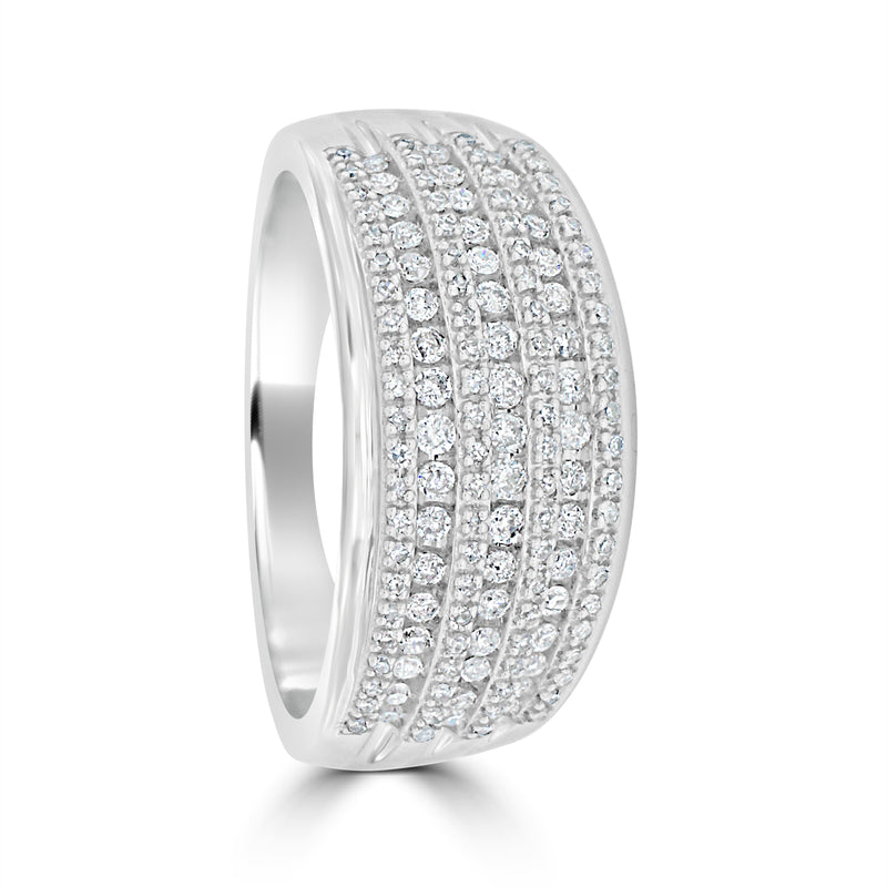 9ct White Gold Wide Pave & Channel Set Diamond Ring