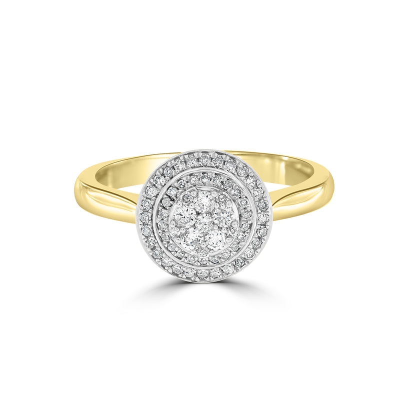 9ct Yellow Gold Round Diamond Cluster Ring