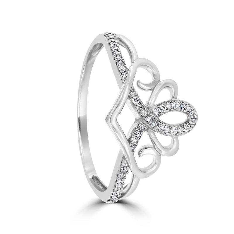 Sterling Silver Diamond Set Crown Ring