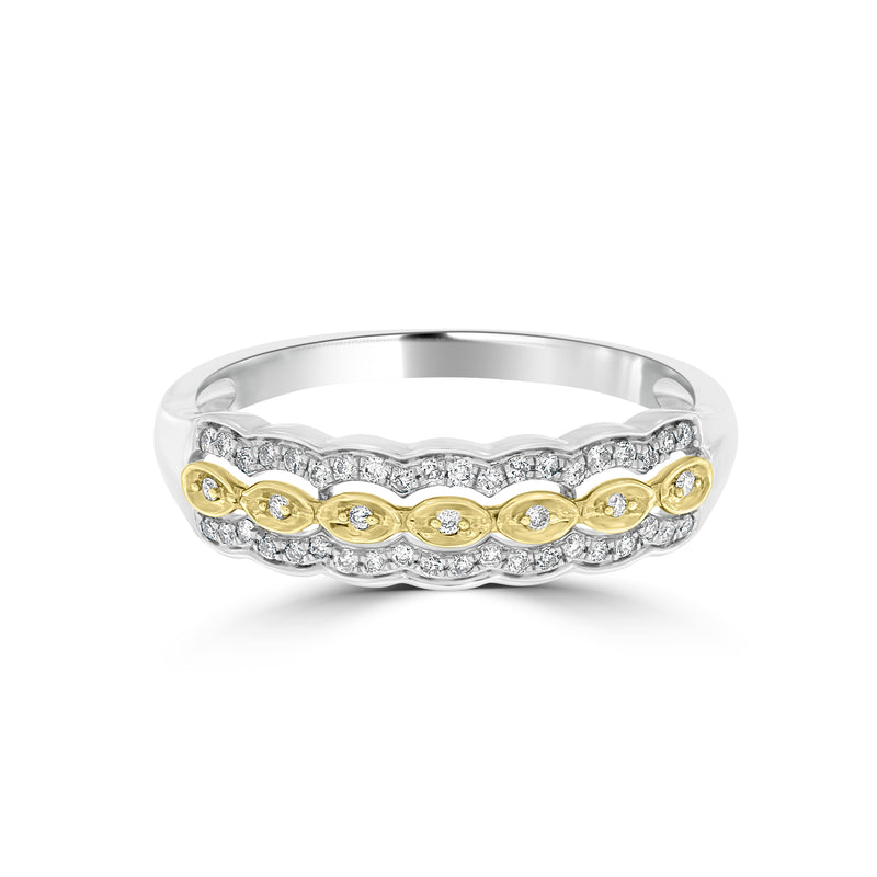 9ct Yellow and White Gold Diamond Set Band Ring