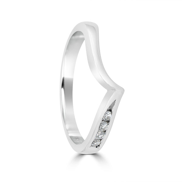 9ct White Gold Diamond Wedding Ring Curved