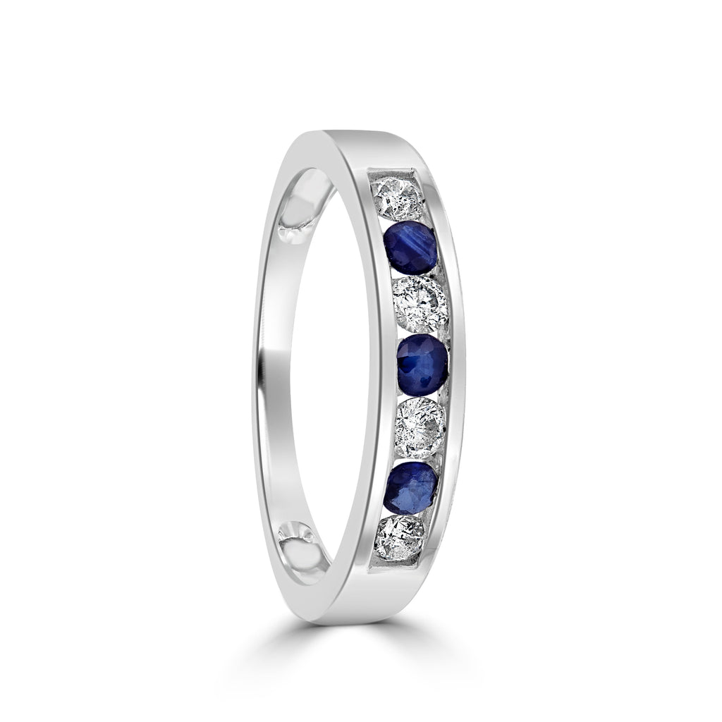 9ct White Gold Sapphire and Channel Set Diamond Ring