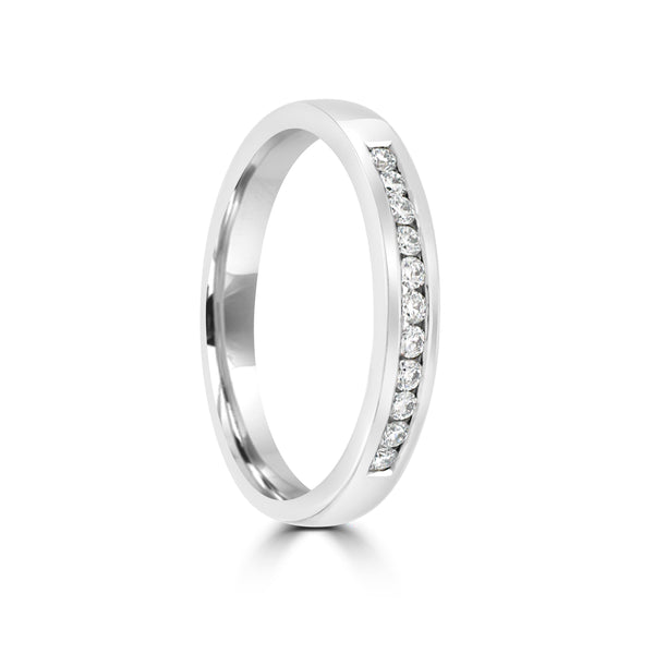 18ct White Gold Diamond Wedding Ring Channel