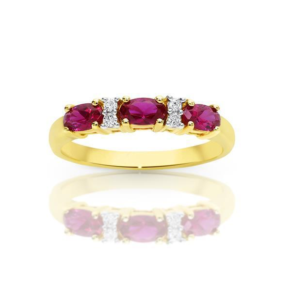 9ct Yellow Gold 3 Tone Gold Claw Set Created Ruby and Diamond Ring