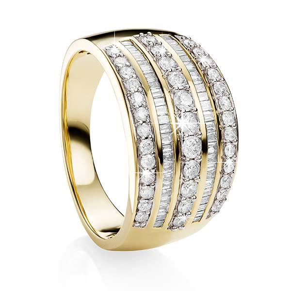 9ct Yellow Gold Baguette and Channel Set Diamond Ring