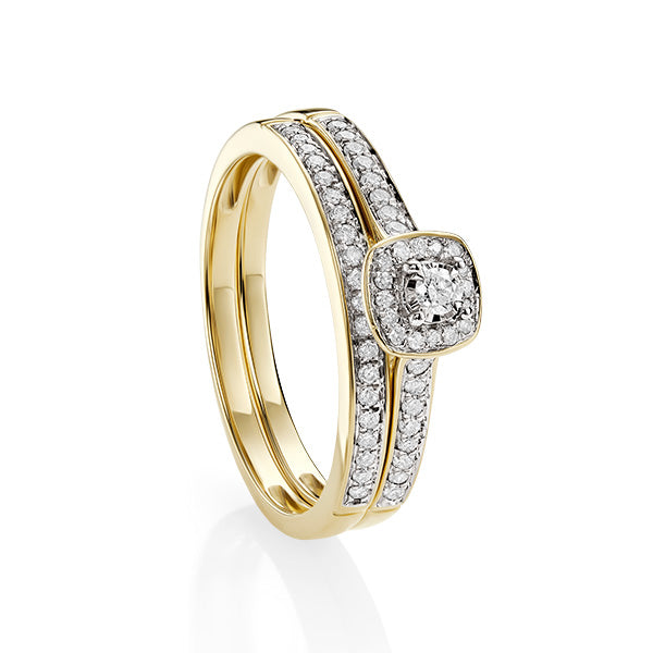 9ct Yellow Gold Diamond Engagement and Wedding Ring Set