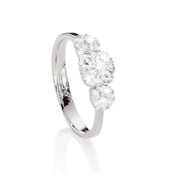 18ct White Gold 3 Piece Cluster Diamond Ring