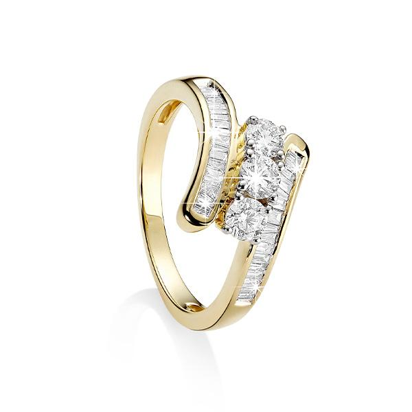 9ct Yellow Gold Round and Baguette Diamond Ring