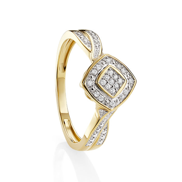 9ct Yellow Gold Diamond Ring off Set Centre with Diamond Set Shoulders