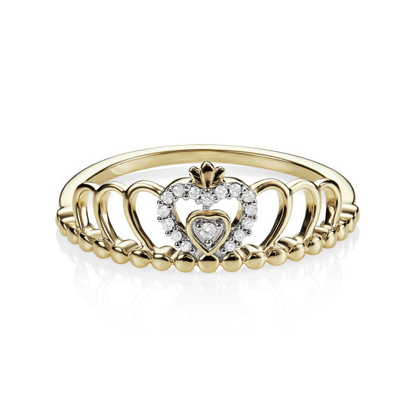 9ct Yellow Gold Diamond Set Heart and Crown Ring