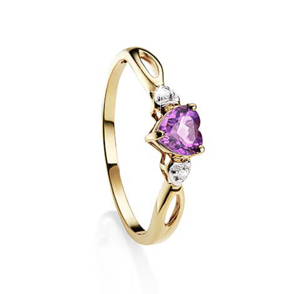 9ct Yellow Gold Heart Shape Amethyst and Diamond Ring