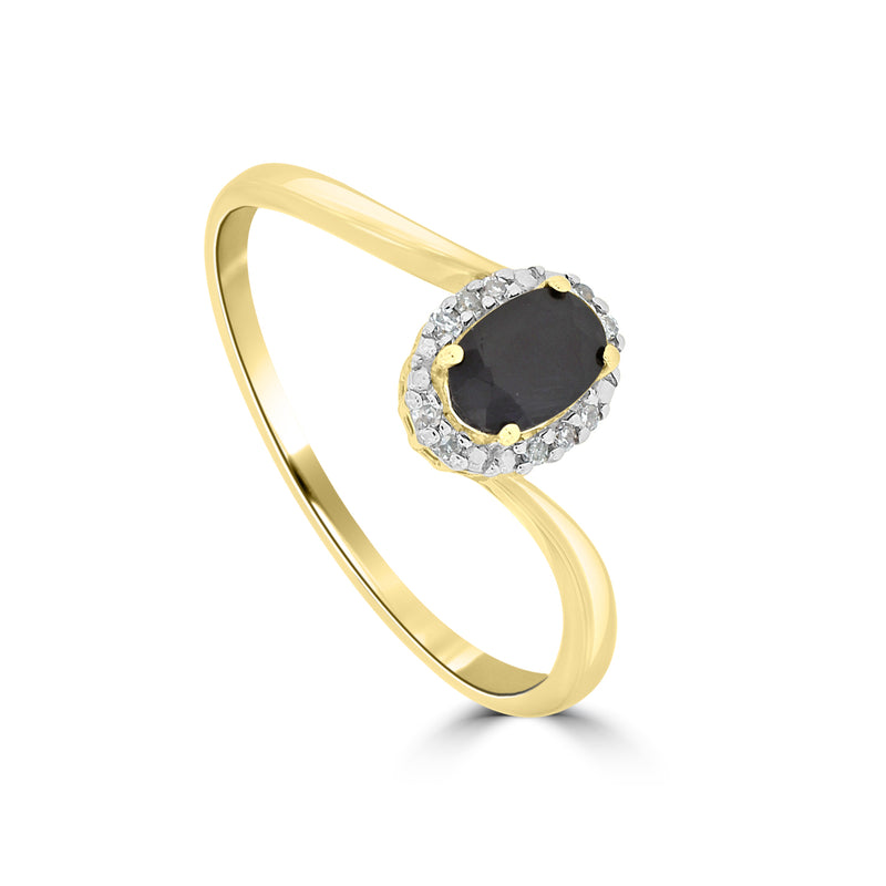 9ct Yellow Gold Oval Sapphire and Diamond Ring