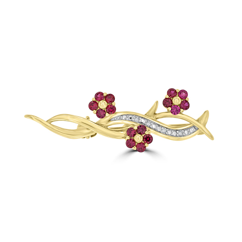 9ct Yellow Gold Created Ruby and Diamond Brooch