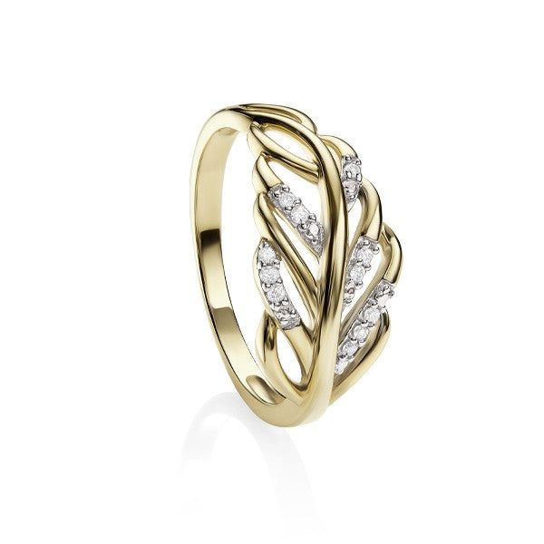 9ct Yellow Gold Diamond Set Leaf Dress Ring