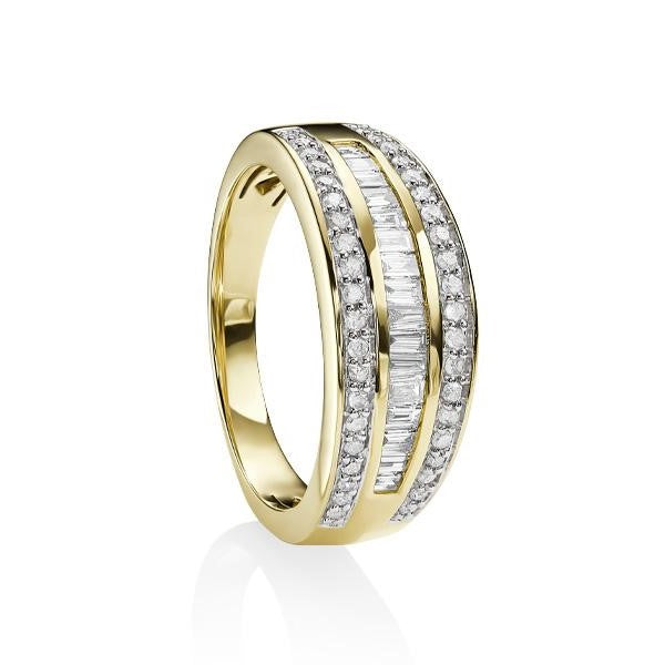 9ct Yellow Gold Tapered Baguette and Round Diamond Ring