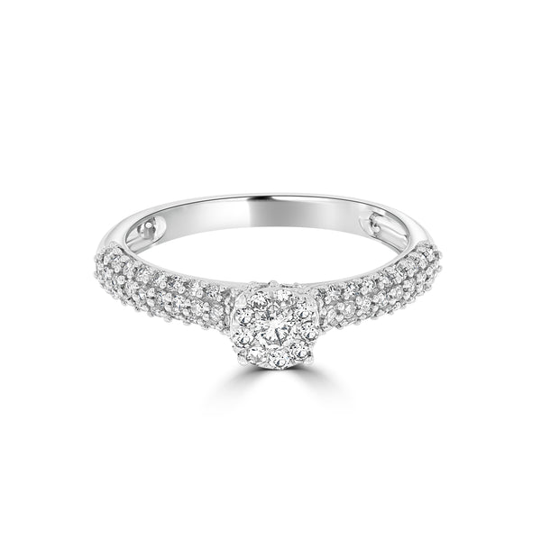 9ct White Gold Diamond Cluster Style Ring