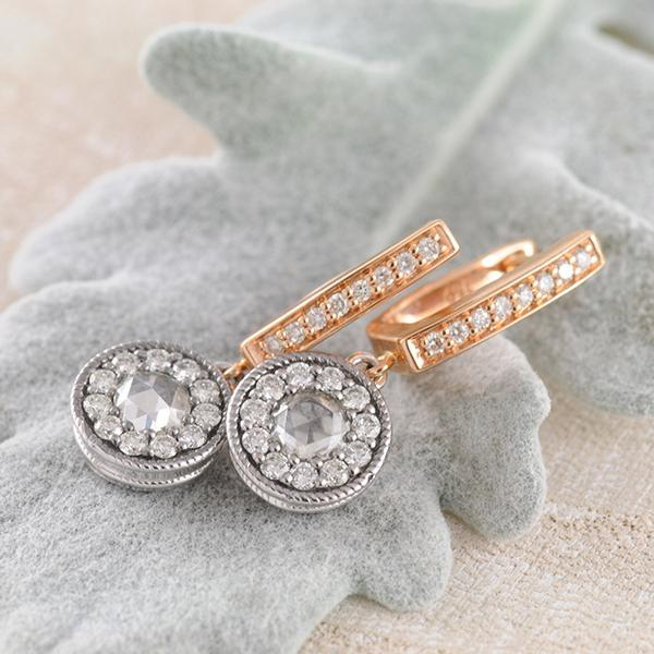 Rose-Cut Diamond Huggie Earrings set in 18k Rose & White Gold
